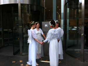 The Climate Guardians pay a visitation to the Headquarters of BHP Billiton and stencil next to their logo
