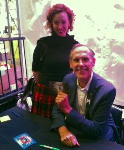Bob Brown wears our lapel at signings of his book Optimism