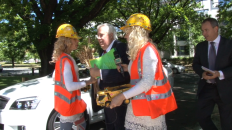 Clive Palmer hemmed in by adoring Billionaire Coal Diggers on his first day of Federal Parliament, November 2013