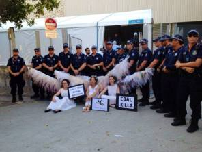 Blockading the VIP entrance of Brisbane's G20, for which the Climate Guardians earned the Courier Mail's 'Most Aussie Moment' after agreeing to end their three and a half hour 'visitation' in exchange for a lift to the pub of their choice, November 2014