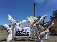 A 'visitation' supporting the Surf Coast Air Action community's calls for Alcoa to shut down its toxic Anglesea coal power plant, March 2015