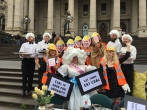 The Coal Diggers host a Laborals #VoteCoal Party on the steps of Parliament early on the Friday before Victorian State election, November 2014