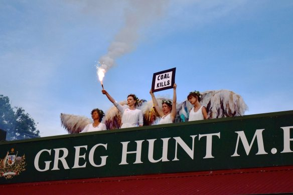 Climate Guardians occupy the rooftop of Environment Minister Greg Hunt for 9 hours protesting the reapproval of the Adani Carmichael megamine