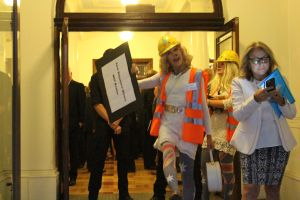 Coal Diggers welcoming guests at Frydenberg's Kooyong 200 Club's sneaky fundraising brekkie, March 2016