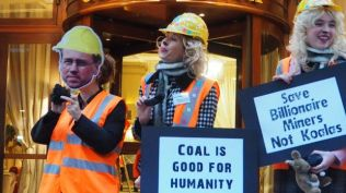 Coal Diggers welcomed guests at The Heartland Institute's counter-COP21 conference at the Hotel California in Paris, December 2015