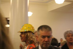 Coral Bleach mingling with Kooyong 200 BUMS at Frydenberg's sneaky fundraising brekkie, March 2016